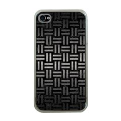Woven1 Black Marble & Gray Metal 1 Apple Iphone 4 Case (clear)
