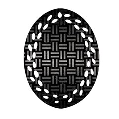 Woven1 Black Marble & Gray Metal 1 Ornament (oval Filigree)