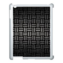 Woven1 Black Marble & Gray Metal 1 Apple Ipad 3/4 Case (white)