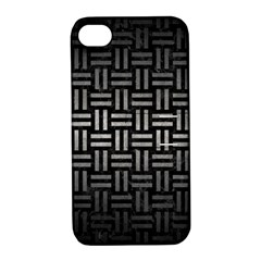 Woven1 Black Marble & Gray Metal 1 Apple Iphone 4/4s Hardshell Case With Stand