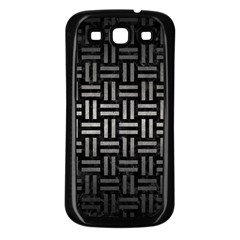 Woven1 Black Marble & Gray Metal 1 Samsung Galaxy S3 Back Case (black)