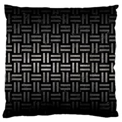 Woven1 Black Marble & Gray Metal 1 Large Flano Cushion Case (two Sides)