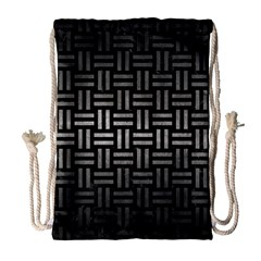 Woven1 Black Marble & Gray Metal 1 Drawstring Bag (large)