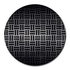 Woven1 Black Marble & Gray Metal 1 (r) Round Mousepads
