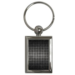 Woven1 Black Marble & Gray Metal 1 (r) Key Chains (rectangle)