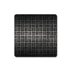 Woven1 Black Marble & Gray Metal 1 (r) Square Magnet
