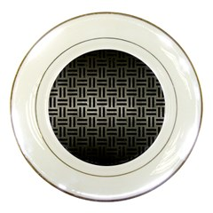 Woven1 Black Marble & Gray Metal 1 (r) Porcelain Plates