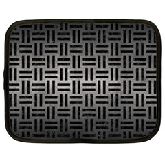 Woven1 Black Marble & Gray Metal 1 (r) Netbook Case (large)