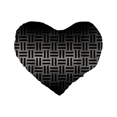 Woven1 Black Marble & Gray Metal 1 (r) Standard 16  Premium Heart Shape Cushions
