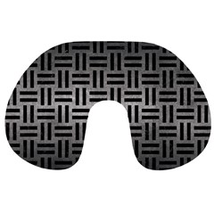 Woven1 Black Marble & Gray Metal 1 (r) Travel Neck Pillows