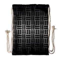 Woven1 Black Marble & Gray Metal 1 (r) Drawstring Bag (large)