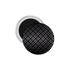 Woven2 Black Marble & Gray Metal 1 1 75  Magnets