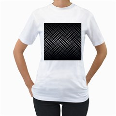 Woven2 Black Marble & Gray Metal 1 Women s T Shirt (white) (two Sided)