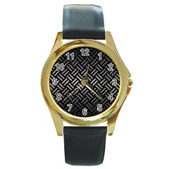 Woven2 Black Marble & Gray Metal 1 Round Gold Metal Watch