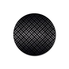 Woven2 Black Marble & Gray Metal 1 Rubber Round Coaster (4 Pack)