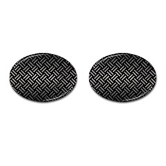 Woven2 Black Marble & Gray Metal 1 Cufflinks (oval)