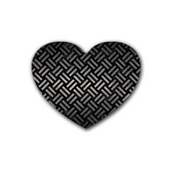 Woven2 Black Marble & Gray Metal 1 Heart Coaster (4 Pack)
