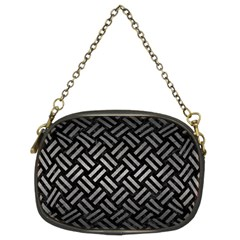 Woven2 Black Marble & Gray Metal 1 Chain Purses (two Sides)