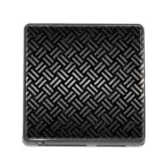 Woven2 Black Marble & Gray Metal 1 Memory Card Reader (square)