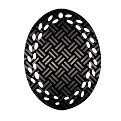 Woven2 Black Marble & Gray Metal 1 Oval Filigree Ornament (two Sides)