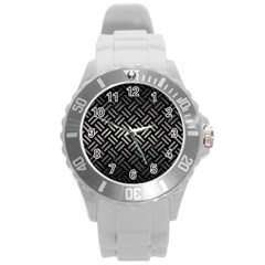 Woven2 Black Marble & Gray Metal 1 Round Plastic Sport Watch (l)