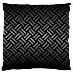 Woven2 Black Marble & Gray Metal 1 Large Cushion Case (one Side)