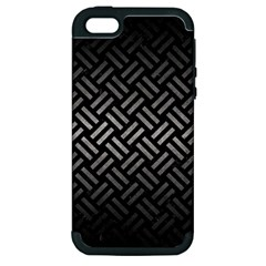 Woven2 Black Marble & Gray Metal 1 Apple Iphone 5 Hardshell Case (pc+silicone)