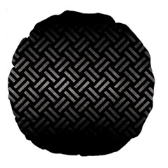 Woven2 Black Marble & Gray Metal 1 Large 18  Premium Round Cushions