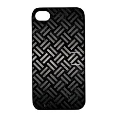 Woven2 Black Marble & Gray Metal 1 Apple Iphone 4/4s Hardshell Case With Stand