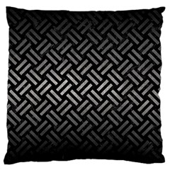Woven2 Black Marble & Gray Metal 1 Large Flano Cushion Case (one Side)