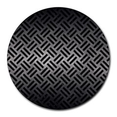 Woven2 Black Marble & Gray Metal 1 (r) Round Mousepads