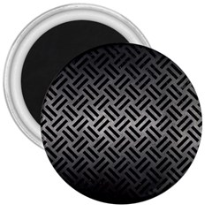 Woven2 Black Marble & Gray Metal 1 (r) 3  Magnets