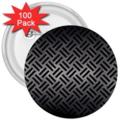 Woven2 Black Marble & Gray Metal 1 (r) 3  Buttons (100 Pack)