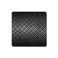 Woven2 Black Marble & Gray Metal 1 (r) Square Magnet