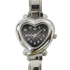 Woven2 Black Marble & Gray Metal 1 (r) Heart Italian Charm Watch