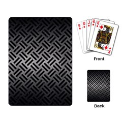 Woven2 Black Marble & Gray Metal 1 (r) Playing Card