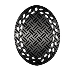 Woven2 Black Marble & Gray Metal 1 (r) Oval Filigree Ornament (two Sides)