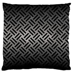 Woven2 Black Marble & Gray Metal 1 (r) Large Cushion Case (one Side)