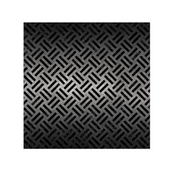 Woven2 Black Marble & Gray Metal 1 (r) Small Satin Scarf (square)