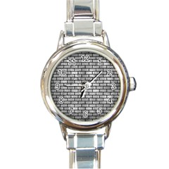 Brick1 Black Marble & Gray Metal 2 (r) Round Italian Charm Watch