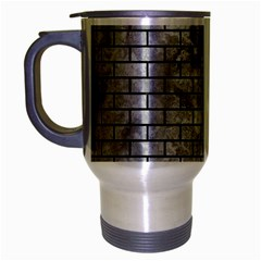 Brick1 Black Marble & Gray Metal 2 (r) Travel Mug (silver Gray)