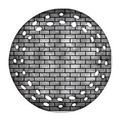 Brick1 Black Marble & Gray Metal 2 (r) Ornament (round Filigree)