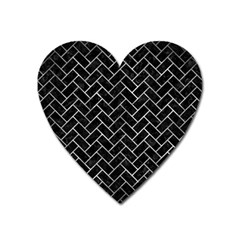 Brick2 Black Marble & Gray Metal 2 Heart Magnet