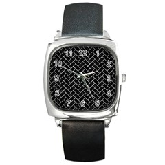 Brick2 Black Marble & Gray Metal 2 Square Metal Watch