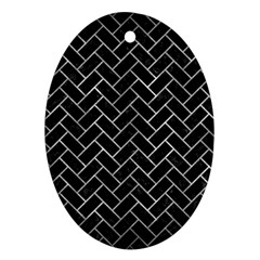 Brick2 Black Marble & Gray Metal 2 Oval Ornament (two Sides)