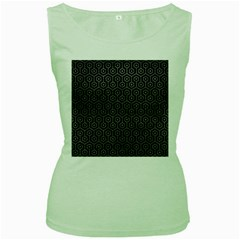 Hexagon1 Black Marble & Gray Leather Women s Green Tank Top