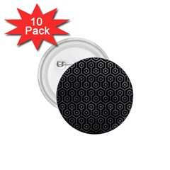 Hexagon1 Black Marble & Gray Leather 1 75  Buttons (10 Pack)