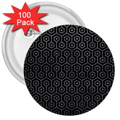 Hexagon1 Black Marble & Gray Leather 3  Buttons (100 Pack)