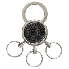 Hexagon1 Black Marble & Gray Leather 3 Ring Key Chains