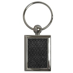 Hexagon1 Black Marble & Gray Leather Key Chains (rectangle)